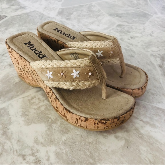 Cork Wedge Embroidered Floral Sandals